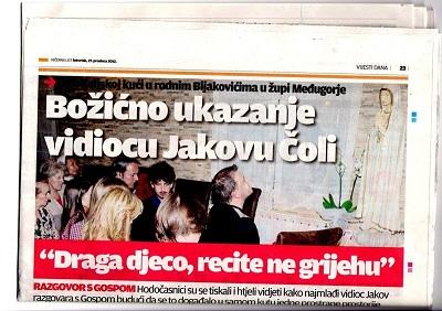 Jakov em êxtase durante aparição anual de Nossa Senhora em 25 de dezembro de 2012.