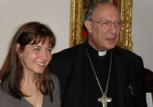 Arcebispo André Leonardo de Bruxelas com Maranatha mundo coordenador Sabrina Covic-Radojicic. O arcebispo eo fechamento ex-colega de Medjugorje sacerdote Pe.. Jozo teve a mesma visão de uma peregrinação internacional Terra Santa, e sua visão comum começou a tomar forma quando eles se conheceram em 2007