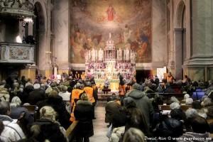 Parte da multidão na Igreja de Santa Maria Maior, em Trieste, Itália, durante o testemunho de Mirjana lá em 9 de fevereiro. Foto: Daniel Miot, guardacon.me