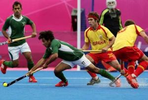 Do jogo de abertura da Espanha contra o Paquistão no torneio de hóquei olímpico em 30 de julho de 2012