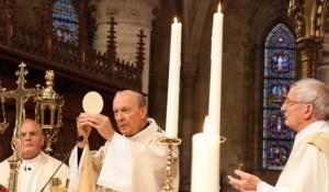 A peregrinação internacional na Terra Santa é uma visão do Arcebispo de Bruxelas (centro) André Léonard.