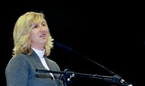Marija falando em Dublin, em 21 de fevereiro. Foto: Una Williams